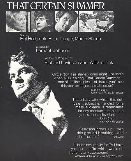 Homosexuality On American Television 1972s That Certain Summer